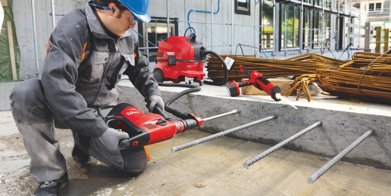 Rebar installation with SafeSet system