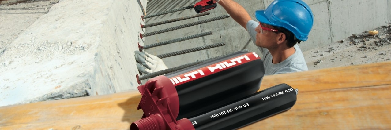 SafeSet system for installing rebar connections with HIT-RE 500 V3 epoxy mortar